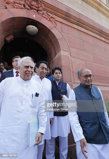 Congress leaders Kapil Sibal Digvijay Singh Kamal Nath Jyotiraditya Scindia after meeting with Prime Minister Narendra Modi on Vyapam Scam issue at...