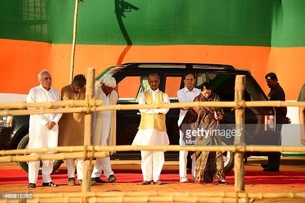 Congress leaders Kapil Sibal Jai Prakash Agarwal and others during a public rally of Congress President Sonia Gandhi on March 30 2014 in New Delhi...