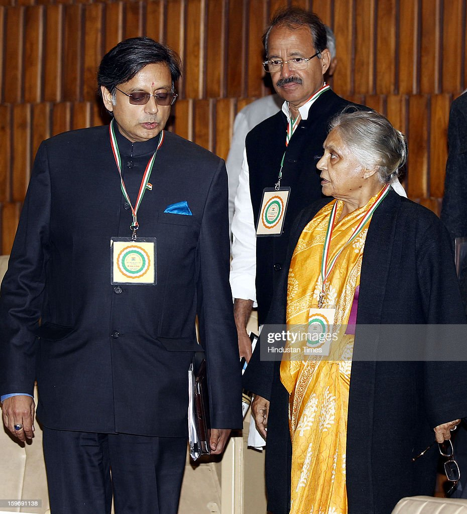 Congress leaders Sheila Dikshit and Shashi Tharoor during the Chintan Shivir at Birla Auditorium, Jaipur on January 18, 2013 in Rajasthan, India. The Congress' brain-storming session began in Jaipur today and the focus is on the 2014 elections and Rahul Gandhi's role in leading the party in the battle. The ruling party hopes to emerge from the two-day-long session armed with strategy on, among other things, how to reconnect with an angry urban middle class.
