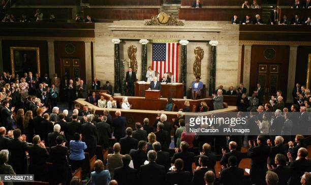 Congress members applaud during Taoiseach Bertie Aherns speech at the US House of Congress in Washington