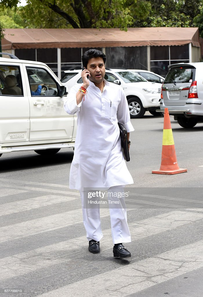 Congress MP AICC Spokesperson and Chief Whip Lok Sabha Jyotiraditya Scindia leave after attending parliament Session on May 3, 2016 in New Delhi, India. With the BJP mounting an offensive against Congress vice-president on the AgustaWestland VVIP chopper bribery case, Rahul Gandhi on Wednesday said he is happy to be targeted.