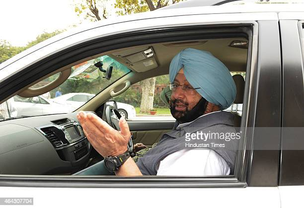 Congress MP Amarinder Singh during Budget session at Parliament house on February 24 2015 in New Delhi India The government introduced the land...