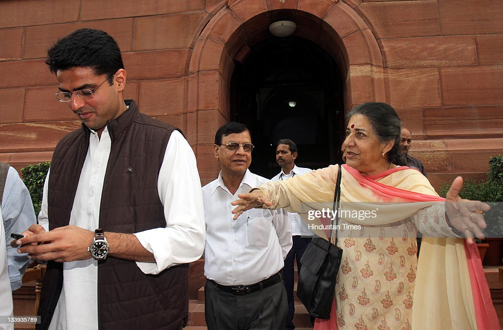 Congress MP Ambika Soni and <a gi-track='captionPersonalityLinkClicked' href=/galleries/search?phrase=Sachin+Pilot&family=editorial&specificpeople=5839798 ng-click='$event.stopPropagation()'>Sachin Pilot</a> at Parliament house on the first day of its winter session on November 22, 2011 in New Delhi, India.