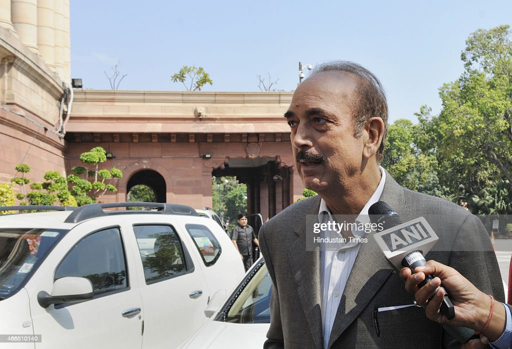 Congress MP <a gi-track='captionPersonalityLinkClicked' href=/galleries/search?phrase=Ghulam+Nabi+Azad&family=editorial&specificpeople=772783 ng-click='$event.stopPropagation()'>Ghulam Nabi Azad</a> at Parliament House during Budget Session on March 16, 2015 in New Delhi, India. Opposition parties in Parliament and outside today vociferously protested the alleged snooping on Rahul Gandhi but the Government trashed the charge saying it was routine security profiling that was used to profile 526 other VIPs.