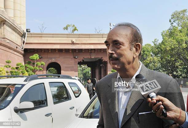 Congress MP Ghulam Nabi Azad at Parliament House during Budget Session on March 16 2015 in New Delhi India Opposition parties in Parliament and...