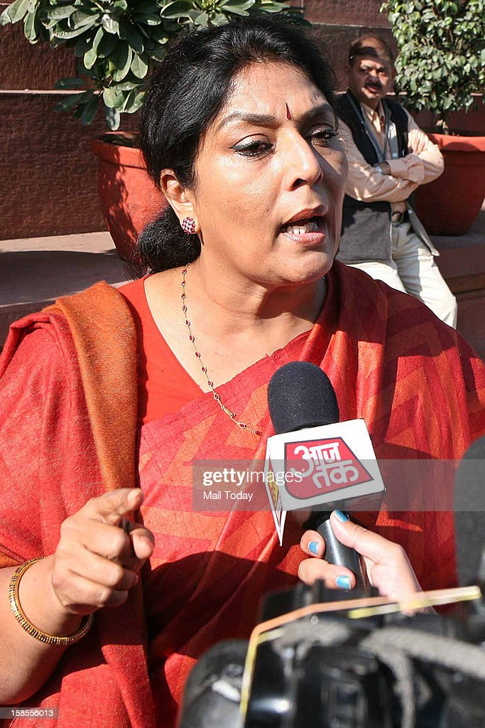 Congress MP Renuka Chowdary at Parliament House in New Delhi on Tuesday during the ongoing winter session.