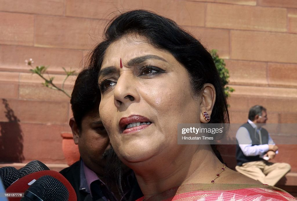Congress MP Renuka Chowdary talking with media person after attending ongoing parliament budget session on March 5, 2013 in New Delhi, India. Both houses of Parliament were adjourned till noon after opposition parties raised various issues including the killing of a police officer in Uttar Pradesh.