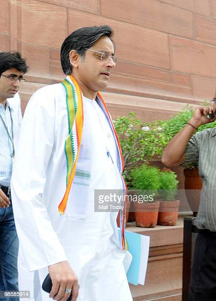 Congress MP Shashi Tharoor outside the parliament house in New Delhi on April 20 2010