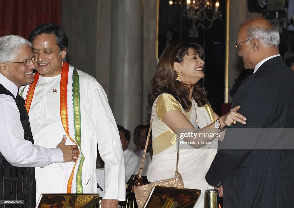 Congress MP Shashi Tharoor with his wife Sunanda Pushkar , Ashwini Kumar (L) and SS Menon (R) during swearing in ceremony for new ministers at Rashtrapati Bhavan on October 28, 2012 in New Delhi, India. Sunanda Pushkar, the 52-year-old industrialist wife of Union HRD minister Shashi Tharoor was found dead on Friday at a seven-star hotel where the couple had checked in together a day earlier, the police said. News of her death emerged late in the evening, coming within two days of her Twitter spat with a Pakistani journalist, Mehr Tarar, over an alleged affair with the minister. Pushkar, who has business interests in Dubai and was the Congress minister's third wife, was found dead in the bedroom of The Leela Palace suite number 345 around 8.15pm. Mehr Tarar, a columnist with Pakistan's Daily Times, reacted to the news of Pushkar's death in two consecutive tweets: What the hell. Sunanda. Oh my God and I just woke up and read this. Im absolutely shocked. This is too awful for words. So tragic I dont know what to say. Rest in peace, Sunanda.