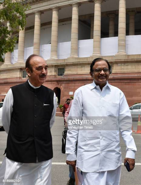 Congress MPs Ghulam Nabi Azad and P Chidambaram at Parliament during the Monsoon Session on July 19 2017 in New Delhi India