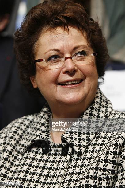 Congress of the UMP Christine Boutin attends the meeting of the rightwing Union for a Popular Movement party in Paris France on January 12th 2008