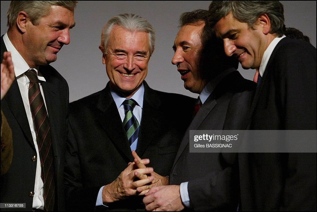 Congress Of Udf At 'La Mutualite' On January 22Nd, 2005 In Paris, France - Francois Sauvadet, Gilles De Robien, <a gi-track='captionPersonalityLinkClicked' href=/galleries/search?phrase=Francois+Bayrou&family=editorial&specificpeople=551791 ng-click='$event.stopPropagation()'>Francois Bayrou</a> And Herve Morin.