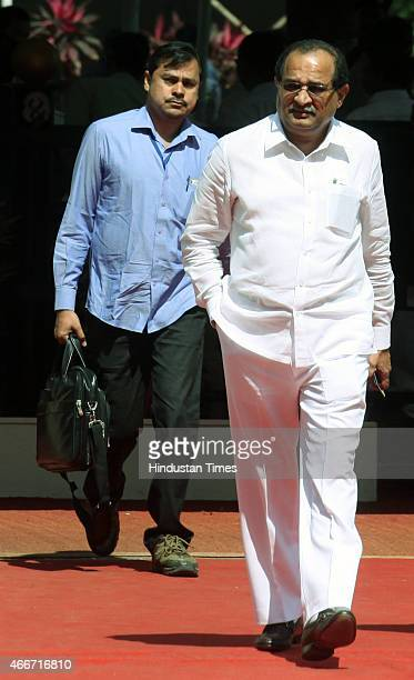Congress opposition leader Radhakrishna VikhePatil arrives for Budget session of Maharashtra Legislature at Vidhan Bhavan on March 18 2015 in Mumbai...