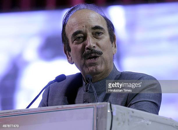 Congress Party Leader Ghulam Nabi Azad addresses the Youth Congress workers during National convention programme 'Maa Tujhe Salaam' organised on the...