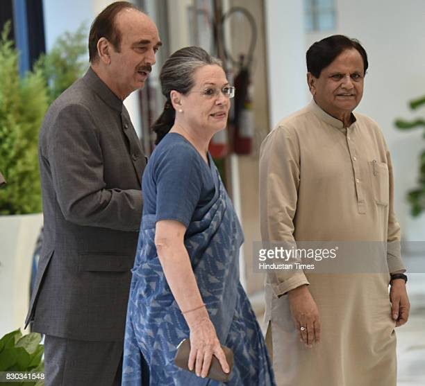 Congress Party President Sonia Gandhi with Ahamd Patel Ghulam Nabi Azad arrives for attending All opposition party leaders meeting at parliament...