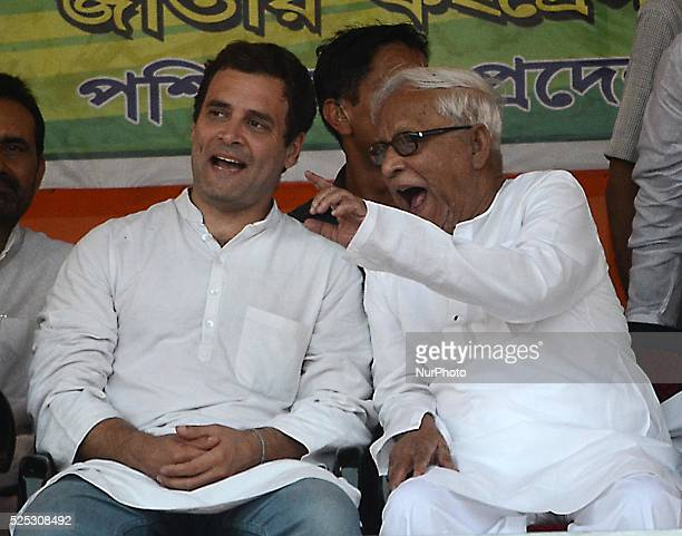 Congress party vice president Rahul Gandhi and Former Chief Minister of West Bengal and Communist Party of IndiaMarxist leader Buddhadeb...