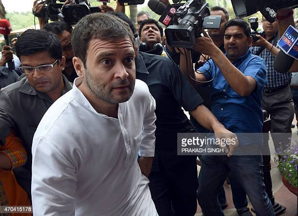 Congress Party Vice President Rahul Gandhi arrives at Parliament in New Delhi on April 20 2015 As the Budget session of Parliament resumes Prime...