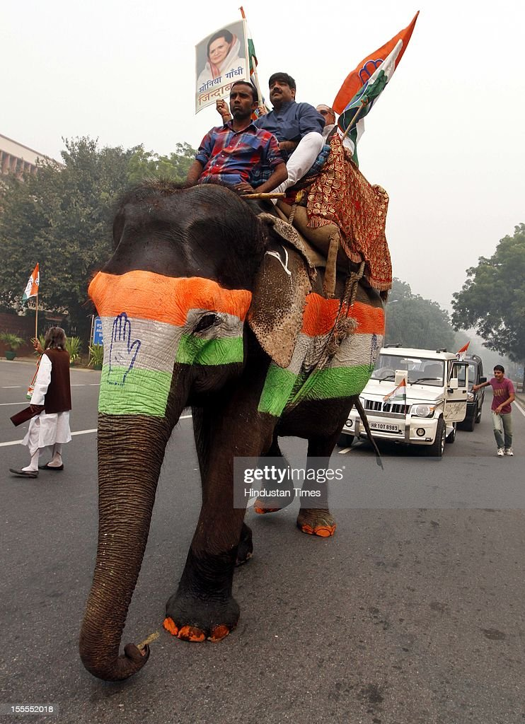 Congress Party workers are transported on an elephant at Rafi Marg on November 04, 2012 in New Delhi, India. The rally is expected to set the agenda for the party's one-day brainstorming session at Surajkund on November 9 in which it plans to discuss the current political and economic situation.