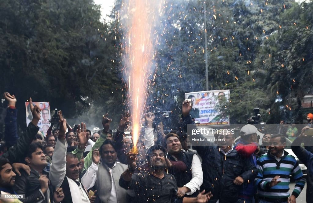 Congress Workers Celebrate As Rahul Gandhi Becomes Party President