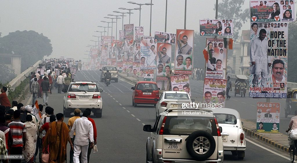 Congress Party workers during the Congress Rally at Ramleela Maidan on November 04, 2012 in New Delhi, India. The rally is expected to set the agenda for the party's one-day brainstorming session at Surajkund on November 9 in which it plans to discuss the current political and economic situation.