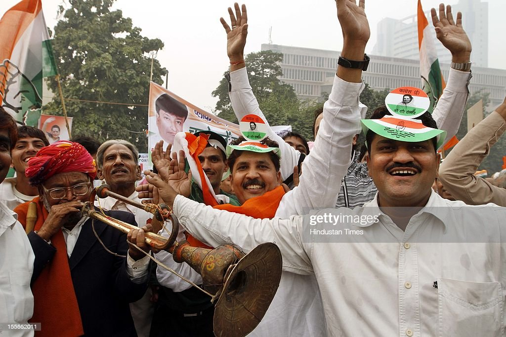 Congress Party workers gather for the Congress Rally at Ramleela Maidan on November 04, 2012 in New Delhi, India. The rally is expected to set the agenda for the party's one-day brainstorming session at Surajkund on November 9 in which it plans to discuss the current political and economic situation.