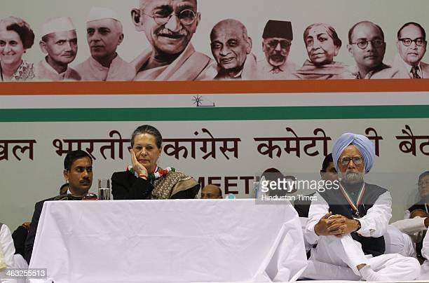 Congress President and UPA Chairperson Sonia Gandhi and Prime Minister Manmohan Singh during All India Congress Committee meet at Talkatora stadium...