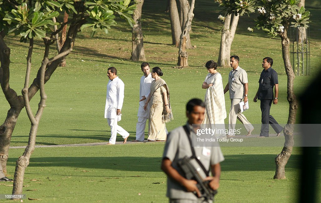 Congress president Sonia Gandhi accompanied by her son Rahul Gandhi, son-in-law Robert Vadra and daughter Priyanka Gandhi Vadra at Veer Bhumi in New Delhi on Friday, May 21, 2010.