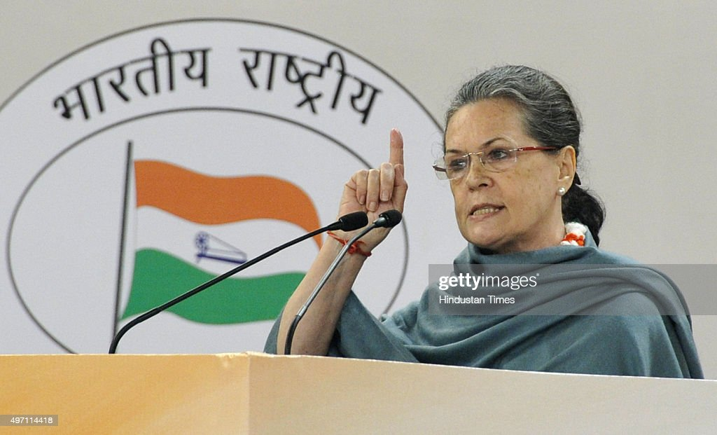 Congress President <a gi-track='captionPersonalityLinkClicked' href=/galleries/search?phrase=Sonia+Gandhi&family=editorial&specificpeople=2287581 ng-click='$event.stopPropagation()'>Sonia Gandhi</a> addresses at the culmination of 125th birth anniversary of first Prime Minister of India Pandit Jawharlal Nehru on November 14, 2015 in New Delhi, India. Jawaharlal Nehru was born in Allahabad on November 14, 1889 and died on May 27, 1964. He became the first prime minister of India after the country's independence in 1947 and served till his death.