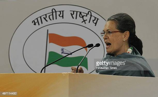 Congress President Sonia Gandhi addresses at the culmination of 125th birth anniversary of first Prime Minister of India Pandit Jawharlal Nehru on...