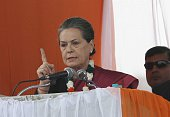 Congress President Sonia Gandhi addresses during an election rally at Meethapur near Badarpur on February 1 2015 in New Delhi India Sonia Gandhi...