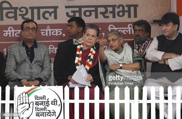 Congress President Sonia Gandhi along with Ajay Maken and Sheila Dikshit Haroon Yusuf during an election rally at Meethapur near Badarpur on February...