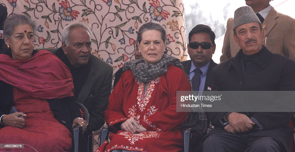 Congress President <a gi-track='captionPersonalityLinkClicked' href=/galleries/search?phrase=Sonia+Gandhi&family=editorial&specificpeople=2287581 ng-click='$event.stopPropagation()'>Sonia Gandhi</a> along with former Union Ministers <a gi-track='captionPersonalityLinkClicked' href=/galleries/search?phrase=Ghulam+Nabi+Azad&family=editorial&specificpeople=772783 ng-click='$event.stopPropagation()'>Ghulam Nabi Azad</a> and Ambika Soni during an election rally at Roni Pora Sangus constituency on December 10, 2014 in Anantnag some 75 Kms from Srinagar, India. Congress president said that it was easy to showcase dreams, but the Congress party actually worked for the development of everyone without any kind of bias.