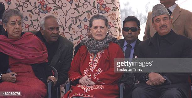 Congress President Sonia Gandhi along with former Union Ministers Ghulam Nabi Azad and Ambika Soni during an election rally at Roni Pora Sangus...