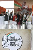 Congress President Sonia Gandhi along with party leaders Ajay Maken Arvinder Singh Lovely and Sheila Dikshit during an election rally at Meethapur...