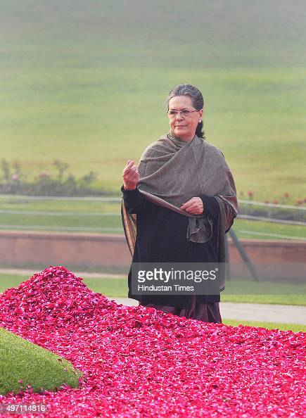 Congress President Sonia Gandhi along with party Vice President Rahul Gandhi paying floral tribute to the first Prime Minister the late Pt Jawaharlal...
