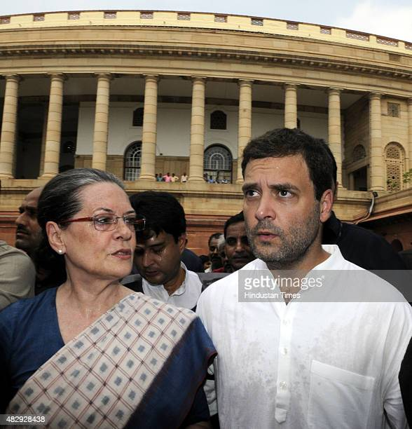 Congress President Sonia Gandhi and Congress Vice President Rahul Gandhi after protest against the NDA Government at the Gandhi Statue of Parliament...