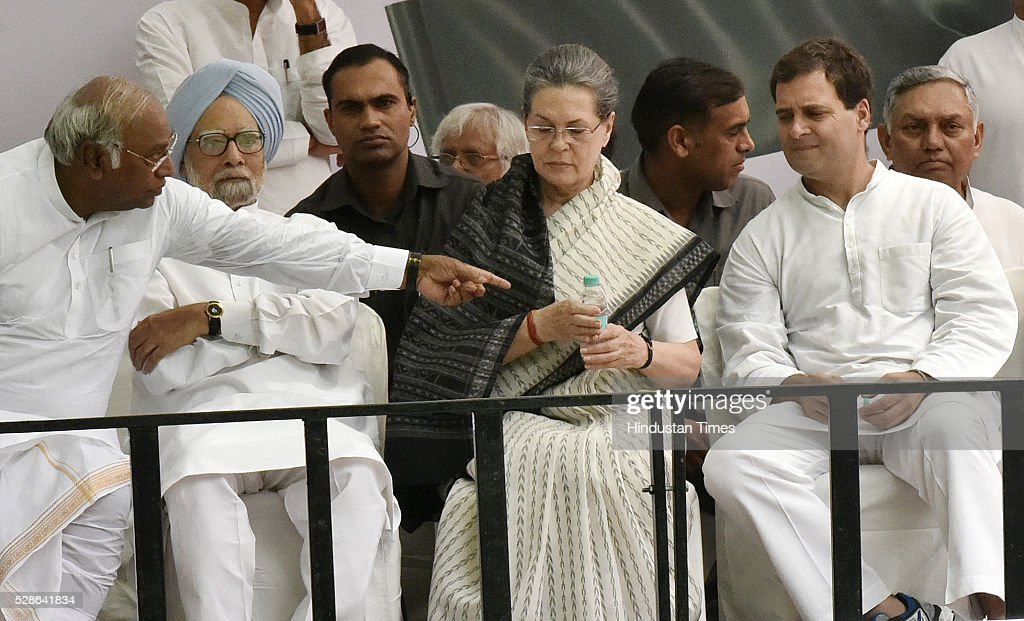 Congress President Sonia Gandhi and Congress vice President Rahul Gandhi along with Other senior Congress Leader During the Congresss Save Democracy march at Jantar Mantar on May 6, 2016 in New Delhi, India. The protest march called to highlight what the Congress party terms as Modis attack on democracy saw thousands of party workers gather at Jantar Mantar, the countrys protest capital. Congress president Sonia Gandhi, party vice-president Rahul Gandhi and former prime minister Manmohan Singh were briefly arrested and then released at the Parliament Street police station.