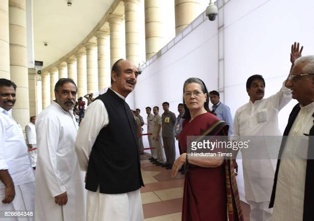 Congress President Sonia Gandhi and Ghulam Nabi Azad after casting their votes for Vice Presidential Election at Parliament House on August 5 2017 in...