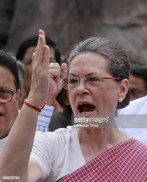 Congress President Sonia Gandhi and other leaders during a protest against the suspension of 25 party members at Parliament on August 5 2015 in New...