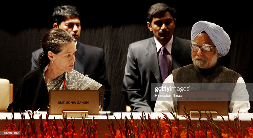 Congress President Sonia Gandhi and Prime Minister Manmohan Singh during the Chintan Shivir at Birla Auditorium, Jaipur on January 18, 2013 in Rajasthan, India. The Congress' brain-storming session began in Jaipur today and the focus is on the 2014 elections and Rahul Gandhi's role in leading the party in the battle. The ruling party hopes to emerge from the two-day-long session armed with strategy on, among other things, how to reconnect with an angry urban middle class.
