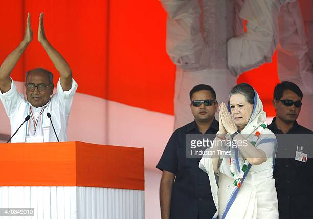 Congress President Sonia Gandhi and senior leader Digvijay Singh during the farmers rally to galvanise protests against National Democratic...