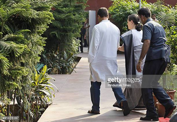 Congress President Sonia Gandhi and Vice President Rahul Gandhi leaves after addressing the media after the results at AICC headquarter on May 16...