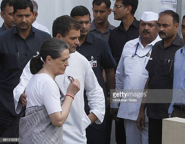 Congress President Sonia Gandhi and Vice President Rahul Gandhi during press conference after the results at AICC headquarter on May 16 2014 in New...