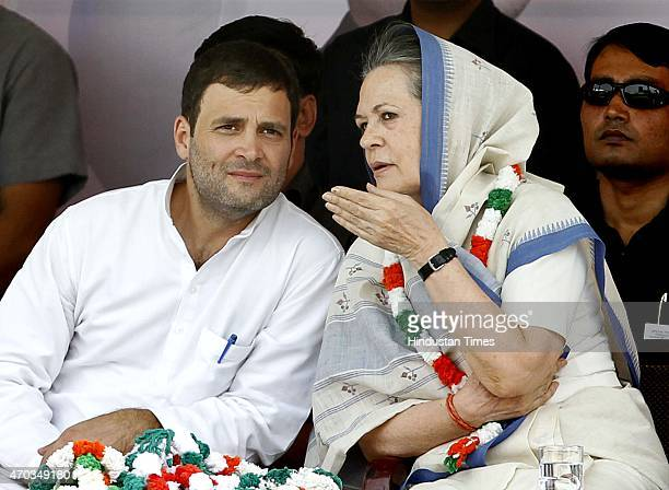 Congress President Sonia Gandhi and Vice President Rahul Gandhi during the farmers rally to galvanise protests against National Democratic Alliance's...