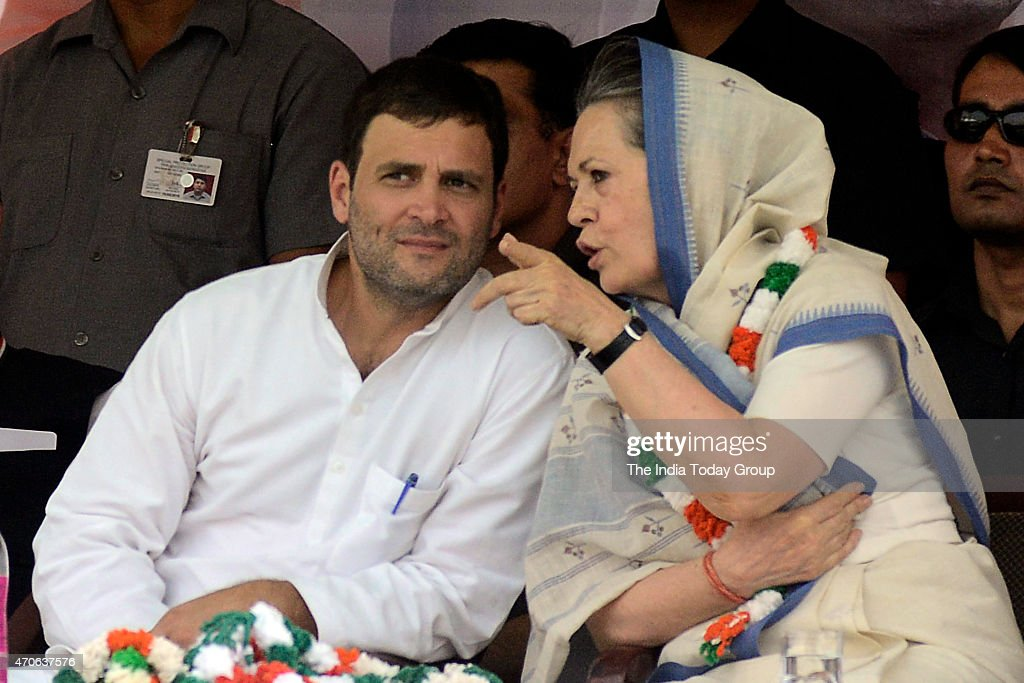 Congress president <a gi-track='captionPersonalityLinkClicked' href=/galleries/search?phrase=Sonia+Gandhi&family=editorial&specificpeople=2287581 ng-click='$event.stopPropagation()'>Sonia Gandhi</a> and Vice president <a gi-track='captionPersonalityLinkClicked' href=/galleries/search?phrase=Rahul+Gandhi&family=editorial&specificpeople=171802 ng-click='$event.stopPropagation()'>Rahul Gandhi</a> during the Kisan rally in New Delhi.