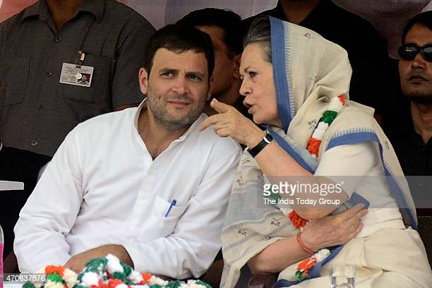 Congress president Sonia Gandhi and Vice president Rahul Gandhi during the Kisan rally in New Delhi