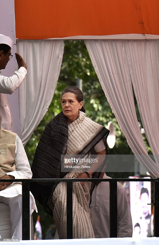 Congress President Sonia Gandhi arrive for the Congresss Save Democracy march at Jantar Mantar on May 6, 2016 in New Delhi, India. The protest march called to highlight what the Congress party terms as Modis attack on democracy saw thousands of party workers gather at Jantar Mantar, the countrys protest capital. Congress president Sonia Gandhi, party vice-president Rahul Gandhi and former prime minister Manmohan Singh were briefly arrested and then released at the Parliament Street police station.