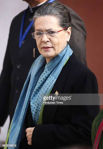 Congress president Sonia Gandhi arrives to cast her vote at Nirman Bhawan during the Delhi Assembly Elections 2015 on February 7 2015 in New Delhi...