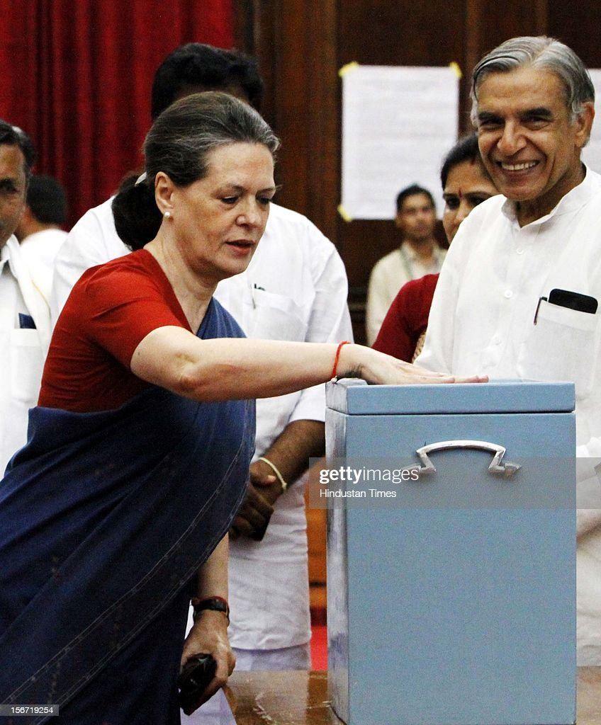 'NEW DELHI, INDIA - AUGUST 7: Congress President Sonia Gandhi casting vote for the election of Vice President at Parliament house on August 7, 2012 in New Delhi, India. (Photo by Sunil Saxena/Hindustan Times via Getty Images)'