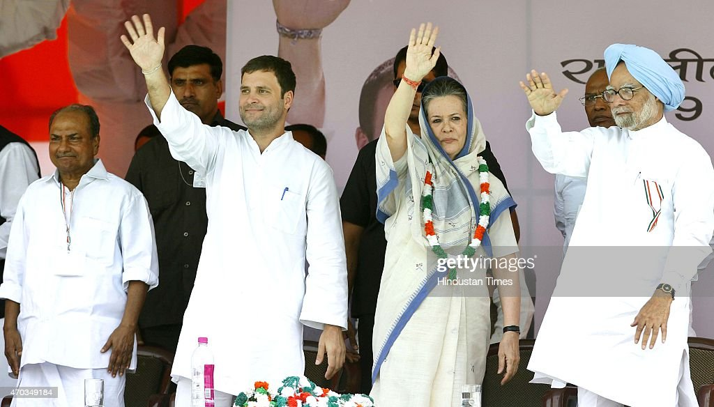 Congress President Sonia Gandhi, Congress Vice President Rahul Gandhi, former Prime Minister Manmohan Singh and AK Antony during the farmers rally (Kisan-Khet Mazdoor Rally) to galvanise protests against National Democratic Alliance's (NDA) land acquisition law at Ramlila Maidan on April 19, 2015 in New Delhi, India. Druing a rally, Rahul Gandhi said, 'I tell you how Modi ji won the election. He took loans of thousands of crores from big industrialists from which his marketing was done. How will he pay back that loan now? He will do it by giving your land to those top industrialists. He wants to weaken the farmers, then snatch their land and give it to his industrialist friends.' Sonia Gandhi said that the voice of India's farming community can never be silenced or suppressed, and any attempt to do so, would be countered with all the power at her command. She accused the Modi government of adding insult to the injury of farmers by bringing the land ordinance.